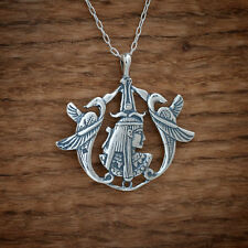 925 Sterling Silver Egyptian Goddess Isis Benu Phoenix Pendant FREE Cable Chain