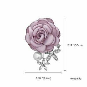Wedding Bridal Bouquet Fabric Flower Brooch Pin Women Lady Jewelry Party Gift