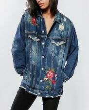 Gr. L 40 Boyfriend LEXXURY Jeansjacke Stickerei Denim Jacke Rose Blogger