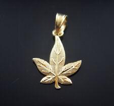 14k Gold Marijuana Leaf Plant Necklace Weed Pendant Charm Oro Medalla Cannabis