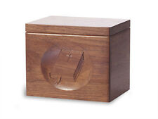 Wood Cremation Urn. Standard model with Black Walnut and a Bible Image
