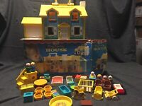 Vintage Fisher Price Little People Play Family House With Orig Box +EXTRAS