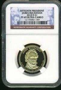 2010-S NGC PF-69 Ultra Cameo James Buchanan Presidential Dollar $1 Coin JE314
