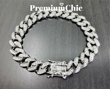 Miami Cuban Link Bracelet FULLY ICED Mens Hip Hop Jewelry ALL LENGTHS