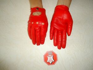WOMEN'S RED  LEATHER DRIVING  GLOVES SIZE  7, 7.5, 8,8.5