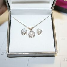 Diamond White Pearl Pendant Necklace Stud Earring Set 14k Yellow Gold over 925SS