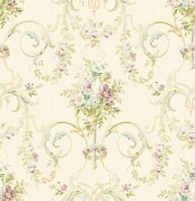Wallpaper French Lavender Purple Floral Arabesque Scroll, Aqua Green Beige Tan