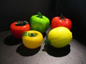 Handblown Glass Fruits and Vegetables Tomato Lemon Orange Peppers