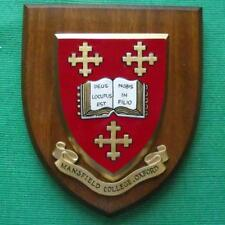 Vintage Mansfield College Oxford University College School Crest Shield Plaque