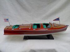"Cedar Wood Chris Craft Triple Cockpit 24"" High Quality Speed Boat L60 Green Seat"