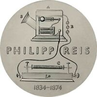 DDR 5 Mark 1974 stgl. Zum 100. Todestag von Philipp Reis Münze in Münzkapsel