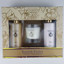 Russell & Windsor Foam Bath Body Lotion Candle 3pc Vanilla & Almond Gift Set New