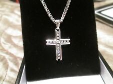 WHITE GOLD CROSS  PENDANT  WITH CHAIN  WHITE SAPPHIRES!! HEAVY!!  WHITE GOLD