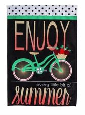 """Evergreen ENJOY SUMMER Double Sided Silhoutte Burlap Boutiqe Flag 28"""" x 44"""" NEW"""