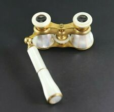 Antique Emil Busch Rathenow Mother of Pearl and Gilt Brass Metal Opera Glasses