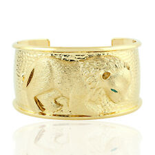 Engraved Lion Cuff Bracelet 0.18ct Emerald Gold Plated Sterling Silver Jewelry
