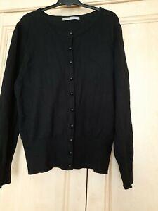 Plain Knit Black M&S Woman Cardigan Long Sleeve Size 10