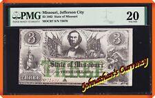 JC&C - 1862 $3 State of Missouri Jefferson City , MO - VF 20 by PMG