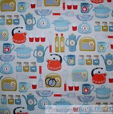 BonEful FABRIC FQ Cotton Quilt Gray Blue Red America*n Retro VTG Antique Kitchen