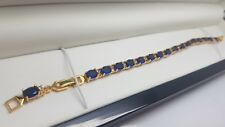 Yellow gold tennis bracelet Dubai Blue Sapphire and created diamond gift boxed