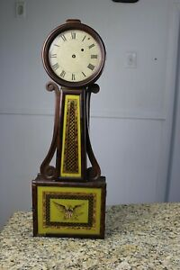 antique weight driven American banjo wall clock