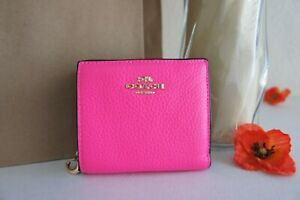 NWT Coach C6126 in Colorblock Leather Snap Wallet Small Bifold Fluorescent Pink