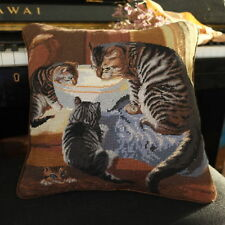 1.1' Hand Crafted Lovely Cat Mother & Sons Eating Needlepoint Pillow Vintage