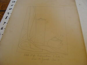 Vintage 1920's William M. Jewell drawing: Still Life Delination