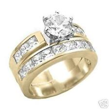 18K GOLD EP 7.06CT DIAMOND SIMULATED ENGAGEMENT RING size 5 or J 1/2