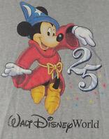 Vintage 90s Walt Disney World 25th Anniversary Mickey Mouse T Shirt Gray L