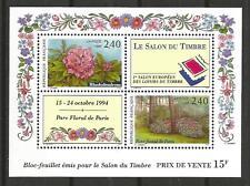 FRANCE BLOC FEUILLET FLEURS SALON TIMBRE 1994 COTE 12 EUROS