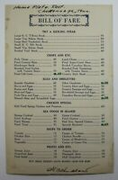 Vintage Restaurant Menu Home Plate Chattanooga Tennessee 7th & Cherry 1940-50's