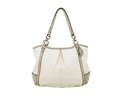 Coach Alexandra Chain Tote Putty Leather Python Brass Studs Shoulder Bag F20812