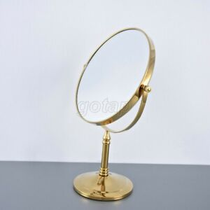 Gold Color Brass Magnifying Mirror Ladies Make Up Cosmetic Dual Side Desk Mirror