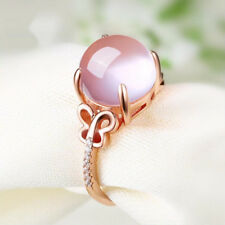 Lovely Adjustable Waterdrop Rose Quartz Pink Crystal Gold Filled Lady Girl Rings