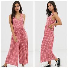 NWOT ASOS curved smock jumpsuit in rose polka dot. Size 6