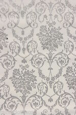 "1m/39"" damask wipe clean wipeable oilcloth silver grey vinyl pvc TABLE CLOTH CO"