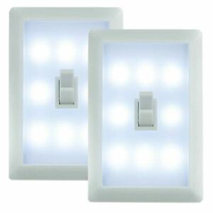2 x Battery Operated Led Cordless Adhesive Bedroom Toggle Wall Night Light Lamp