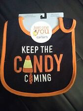 "carters ""keep the candy coming"" bib halloween bib"