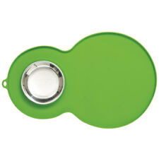 Catit Silikonmatte mit Edelstahl Napf - Farbe grün 46x29cm