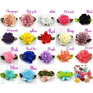 Lot 50P Satin Ribbon Carnation Flower Appliques/craft/Wedding Decoration-U pick