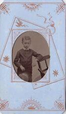 ANTIQUE CDV PHOTO - TIN TYPE -SMALL BOY HOLDING HAT
