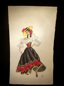 Spanish Dancer 1946-1959 Original Watercolor Pencil Sketch by C. Kelm