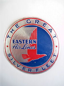 Striking Vintage Eastern Airline Luggage Label - Silver, Red and Blue *