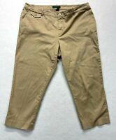 """Ralph Lauren women's capri pants, tan size 16w with 24"""" inseam."""