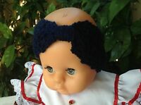 NAVY BLUE handmade crochet TURBAN headband baby girl 3 to 6 months