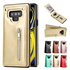 For Samsung Galaxy Note 9 S10 S9 S8 Zipper Leather Card Pocket Wallet Case Cover