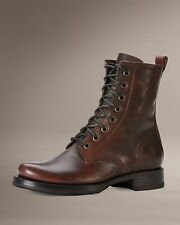 Women's Frye Boots Veronica Combat Dark Brown Brushed Off Leather 76270 DBN