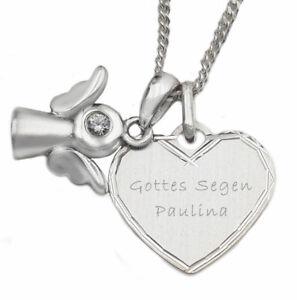Kette mit Schutzengel + Herz Gravur 925 Sterling Silber Taufe Geburt Kommunion
