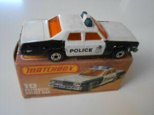 10 MATCHBOX ORIGINAL 10 COCHE PLYMOUTH POLICE CAR NEGRO 1/64 1:64 POLICIA